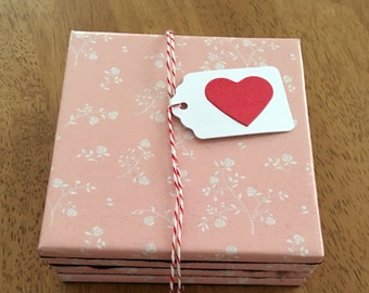 Tile Coasters - Set of Four - Pink & White Roses