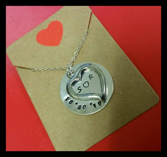 Silver Heart Anniversary Hand Stamped Necklace