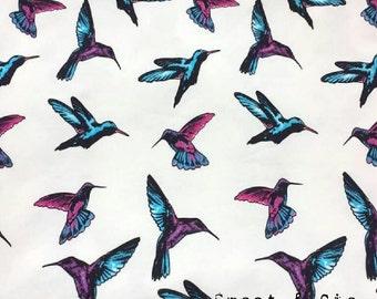 Fabric jersey hummingbirds