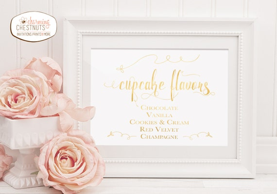 wedding cake flavour sign cupcake flavor sign gold wedding diy wedding printable gold 22662