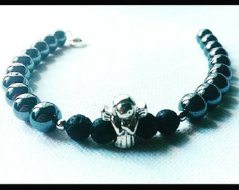 Bracelet in Silver 925 mens, Hematite and washing