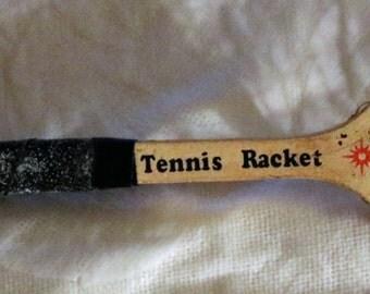 Wooden Tennis Racket KeyChain 80's