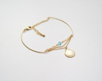 Bracelet chains and gold-plated shell 14 k