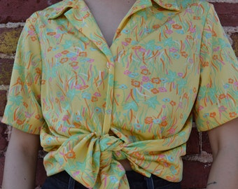 1970s Yellow Floral Blouse