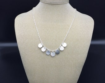 Silver leather and chain necklace