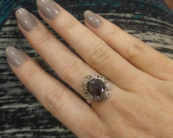 Vintage Hematite and Sterling Silver RIng