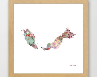 MALAISIA MAP, flowers composition, roses, Giclee Fine Art, Poster Print