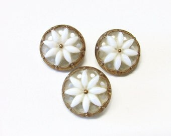 Vintage Gold and White Flower Buttons Set of 3