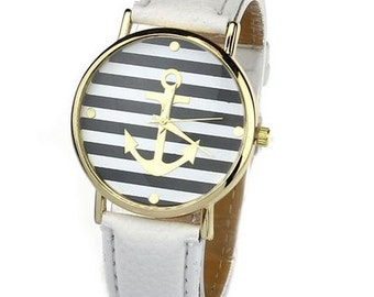 Anchor Stripes Leather Watch