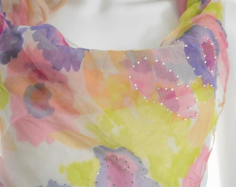 Yellow floral silk scarf embellished scarf