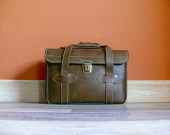 Leather Camera Bag - E.G. 6, Brown Hand Waxed Top Grain Cowhide, Vintage Photography, Distressed Leather Briefcase, Leather Train Case