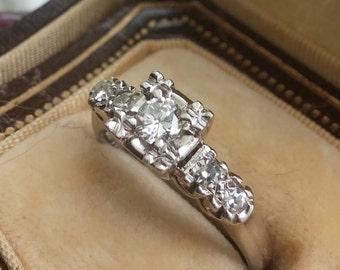 14k Gold Diamond Wedding Engagement Antique Ring