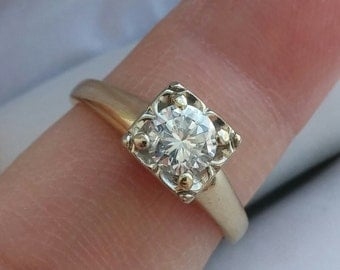 14k Gold 0.55ct Diamond Wedding Engagement Ring Antique