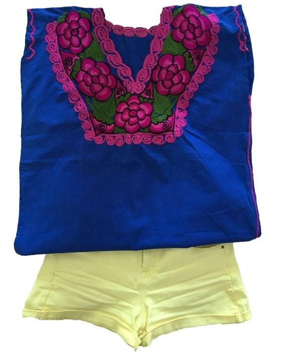 Blusa bordada mexicano hecho a mano ropa mexicana, blusas de verano bordadas con flores,