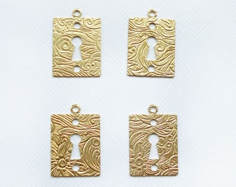 4 Raw Brass Embossed Keyhole Charms
