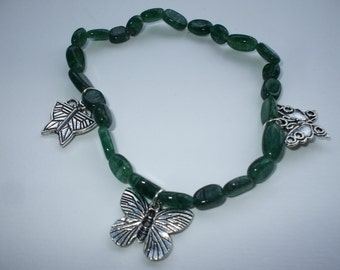 Green Aventurine Bracelet with Butterfly Charms