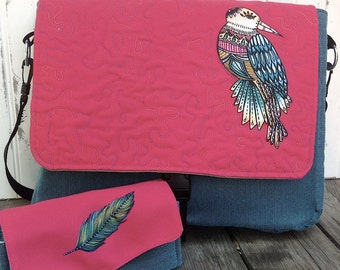 Whimsical Bird Messenger Bag and Feather Wallet Clutch Set - On Sale!