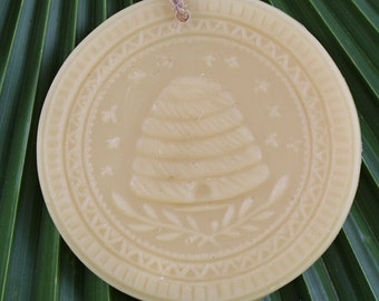 100% Pure Honey Beeswax Hand Poured Detailed Vintage Beehive Ornament with Natural Rope Hoop to Hang.