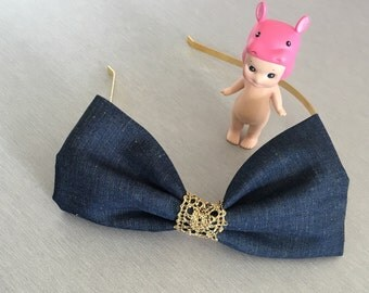Big bow bronze headband with paillettes