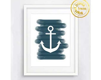 Printable wall art Digital Prints modern wall art marine Home decor navy blue white anchor printable art, printable prints