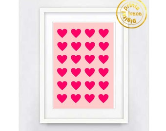 Printable art Digital Prints pink hearts love modern wall art printable art, printable prints