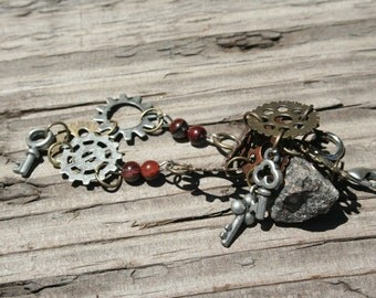Steampunk Multi-Colored Gear and Key Bracelet with Tiger Eye