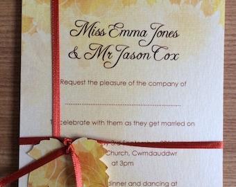 Falling Autumn Leaves wedding invitation