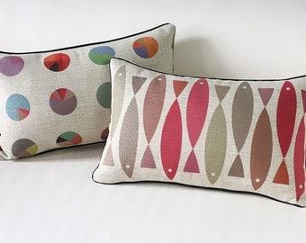 Nordic Simple Geometry Fish Cotton Linen Cushion Pillow Case