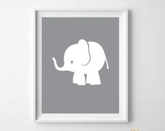 Elephant printable, Nursery printable, African Elephant Animal art, nursery Decor, white Elephant print, nursery print, animal nursery art