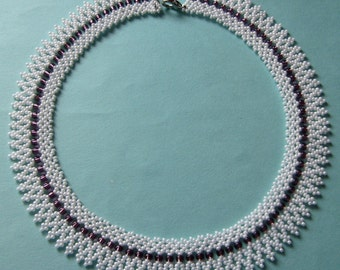 Traditional Hungarian Folk Beaded Necklace -  White and Purple