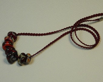 Necklace, ras braided Ribbon Mokuba, with 7 neck beads glass square, decorated with points, Garnet, coral, PuTTY, deep purple, Red