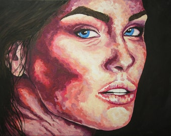 Digital Prints - Textured Impressionist Portrait of Woman's Face Original Acrylic Painting on Gallery Wrapped Canvas Art by Breanna Deis