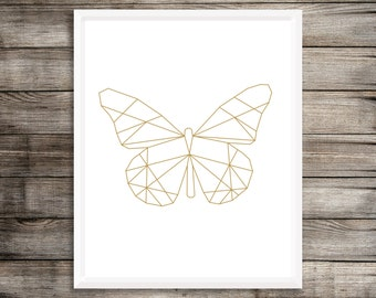Geometric Butterfly Art Print, Gold Butterfly, Geometric Decor, Modern Minimal Gold Butterfly Art, Printable Instant Download