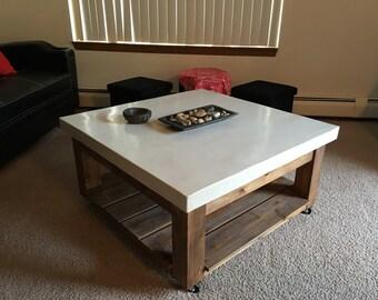 White Concrete Coffee Table