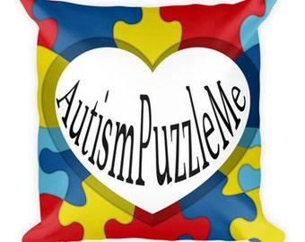 """18""""x18"""" Pillow by AutismPuzzleMe.com or AutismPuzzleMe.me"""