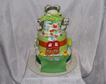 Diaper cake, Baby shower gift, Neutral theme, 3 tier