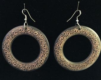 Large Brown Wooden Earings