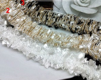 "5 yard 2.3cm 0.9"" wide ivory/ivory gold/black tassels fringes tapes lace trim ribbon md83ke free ship"