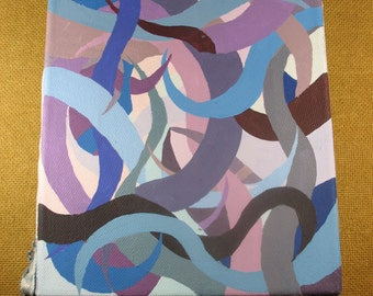 Original abstract painting, blues, purples, pinks, Acrylic Painting