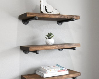 "Set of 3 - 6"" Farmhouse Industrial Floating Shelves Combo, Wood & Pipe Shelf, Rustic Bathroom or Kitchen Shelves"