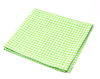 Bright Green Gingham Pocket Square