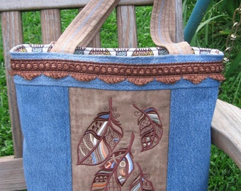 BIRDS OF A FEATHER Embroidered Tote Purse