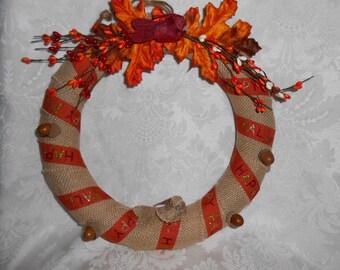 Fall Wreath w/ burlap