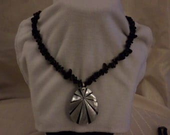 Black and white abalone shell necklace