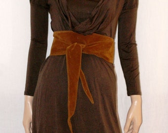 Brown Midi Dress, Party Woman Dress, Casual Brown Dress, Stretched Midi Dress, Long Sleeves Dress, Vintage Dress, Brown Dress, Size S