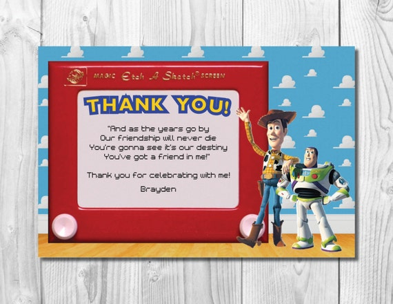 Toy Story Thank You Note << Woody Birthday Thank You >> Buzz Lightyear Birthday Thank You >> Custom Printable Digital File