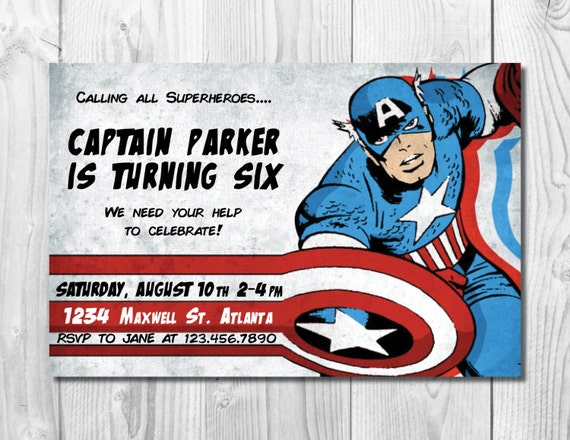 Superhero Birthday Party Invitation >> Captain America Birthday Invitation << Avengers Birthday Invite >> Custom Printable Digital File