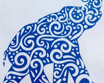 Tribal Elephant Car Decal Mac Book Sticker Personalized Custom