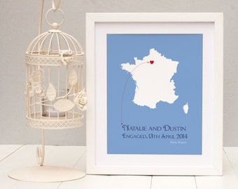 Engaged In Paris Personalised Print