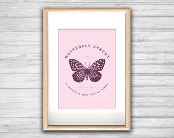 Affiche CHASING BUTTERFLIES - Poster Papillon - affiche deco, impression d'art, Illustration, Art mural, illustration tendance